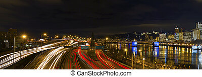 Freeway Light Trails in Downtown Portland Oregon Panorama at...