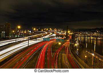 Freeway Light Trails in Portland Oregon Downtown at Night