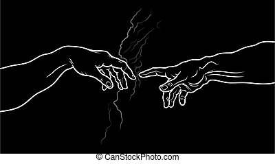 The Creation of Adam. Fragment (Invert vesion) - 'Creatio...