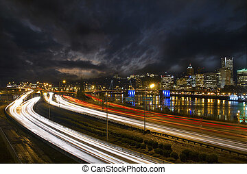 Freeway Light Trails in Downtown Portland Oregon 2 - Freeway...