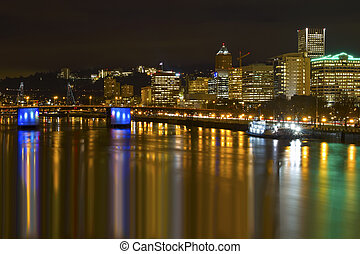 Portland Downtown City Skyline by Waterfront at Night -...