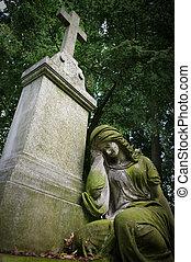 老, 墳墓, 婦女, 雕像