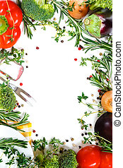 Beautiful fresh vegetable frame Healthy food consept