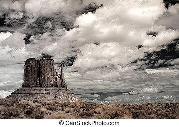 Stormy Weather - Stormy weather over Monument Valley in...