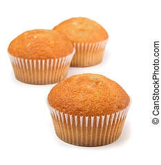Cup cake - Three cupcakes with fruit filling isolated on...