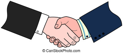Handshake - Two hands in business suits engaged in a...