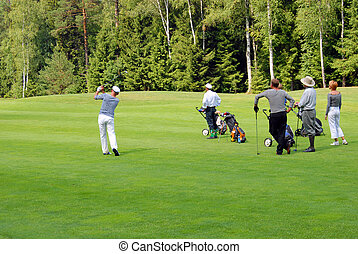 Group golfers on tournament - MOSCOW - AUGUST JULY 05: Group...