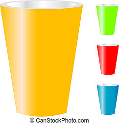 cups of various color isolated on w - three cups of various...