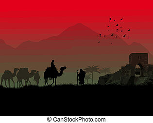 An Islamic sunset background - Camels in Sahara with...