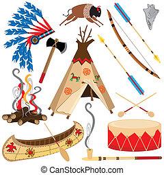norteamericano, indio, Clipart, iconos