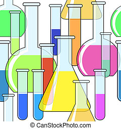 Abstract background with motley chemical glassware. Seamless...