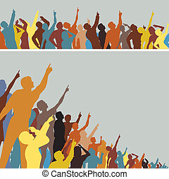 Pointing crowds - Two colorful editable vector silhouettes...