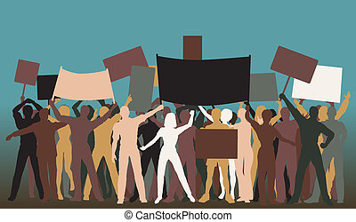 Protest group - Editable vector silhouettes of protesters...