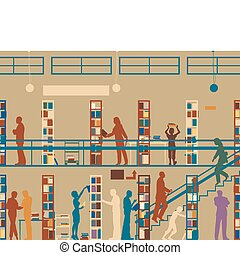 Public library - Editable vector silhouette of colorful...