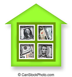 House of Money - Green house or bank full of money over...