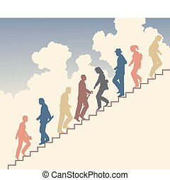 Stair walkers - Colorful editable vector silhouette of...