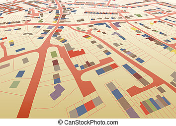 Streetmap perspective - Angled view of a colorful editable...