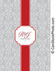 Vector Long Red Ribbon Frame and Background