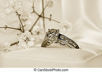 Heirloom Ring - Diamond ring in ring box in sepia tones.