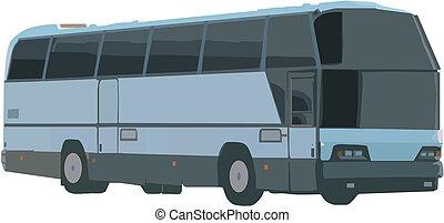 bus - vector illustration: travel bus over white