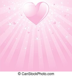 Valentine pink heart, stars and st