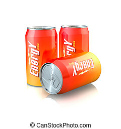 Energy Drink - 3d illustration of Aluminum Energy Drink Cans