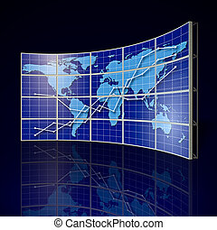 Video Wall - video wall with world map and abstract graph