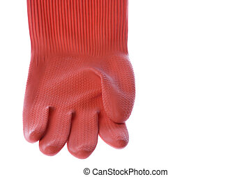 Red Rubber Glove Isolated - Isolated image of a red rubber...