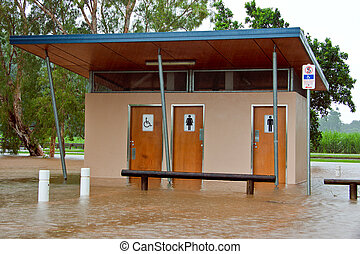 Public toilets and bathrooms flooded in Queensland,...