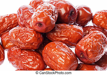 Dates Macro Isolated - Isolated macro image of Chinese red...