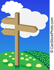 Spring Background - Signpost on Meadow