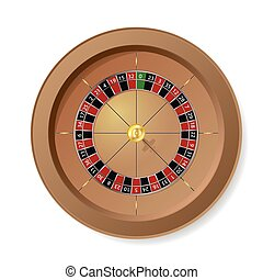 Roulette Wheel for casino games on white background.