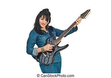 Guitarra, mulher, tocando, rocha