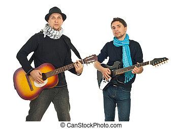 faixa, sujeitos, tocando, violões