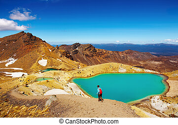 Tongariro National Park, New Zealand - Emerald Lakes,...