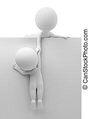 3D, pequeno, pessoas, -, Ajuda, amigo