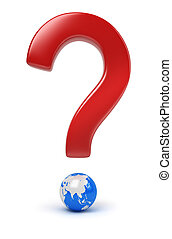 global question - Global question. 3d image. Isolated white...