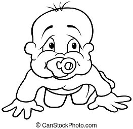 Baby Toddling - Black and White Cartoon illustration, Vector
