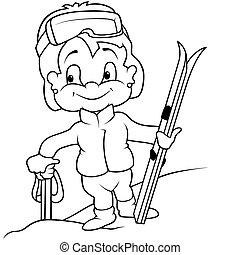 Girl Skier - Black and White Cartoon illustration, Vector