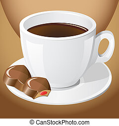 cup of coffee with chocolate candies illustration