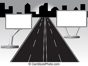 road and billboard  illustration