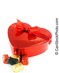 Love heart gift box with red ribbon