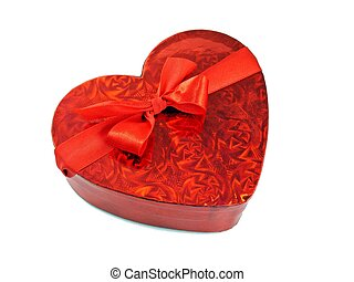 Valentine love heart gift box - A shiny red love heart gift...