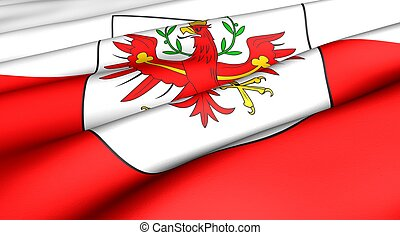 Flag of Tyrol. Close up. Front view.