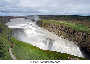 Gulfoss - Icelandic waterfall with rainbow