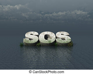 sos monument at the ocean - 3d illustration