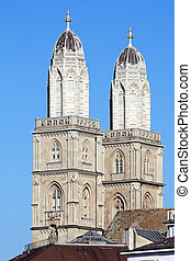 quot;Grossmunsterquot; cathedral in Zurich - Famous...
