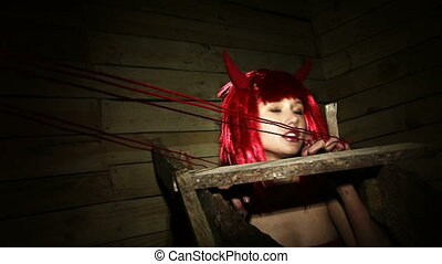Artful dodger - A beautiful young girl dressed as devils.