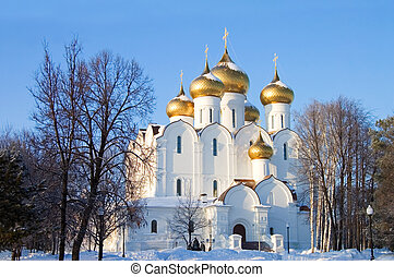 The old church of the city of Yaroslavl in winter