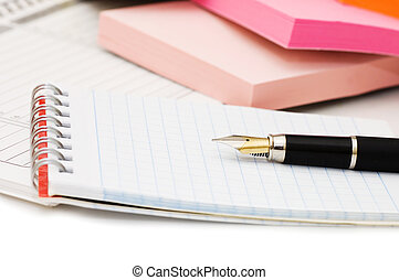 Fountain Pen and blank spiral bound notepad